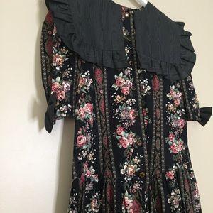 Vintage Pants - Vintage Floral Bibbed Pant Jumpsuit Romper